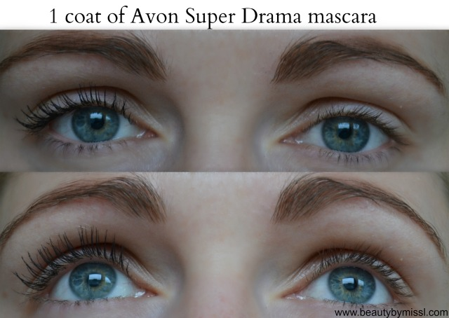 1 coat of Avon Super Drama mascara