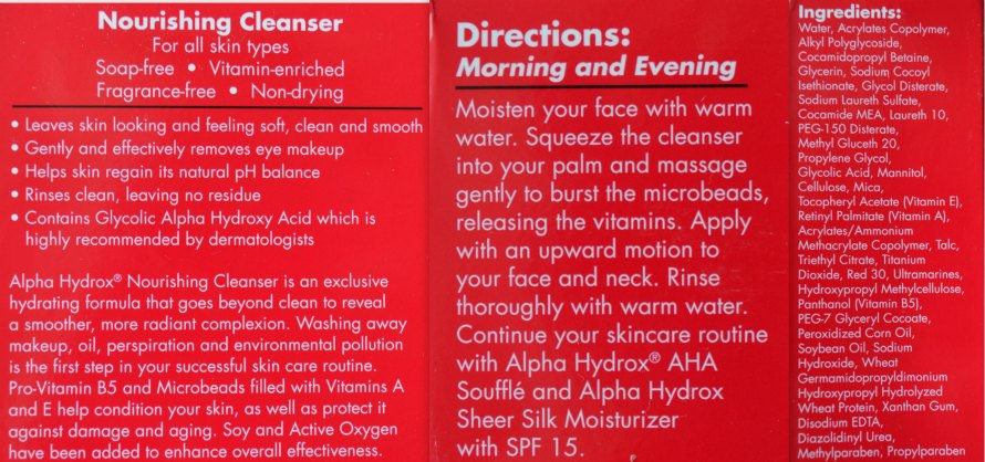 Directions & Ingredients on the back of Alpha Hydrox's Nourishing Cleanser