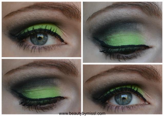 Green and black smoky eye