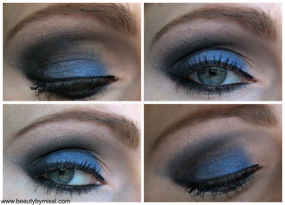 Blue & Black smoky eye makeup look