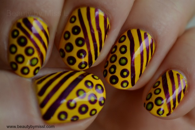 striped and dotted nails
