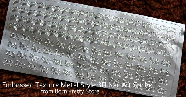 Embossed Texture Metal Style 3D Nail Art Sticker from Born Pretty Store