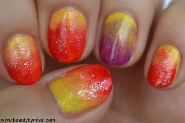 sunset themed manicure