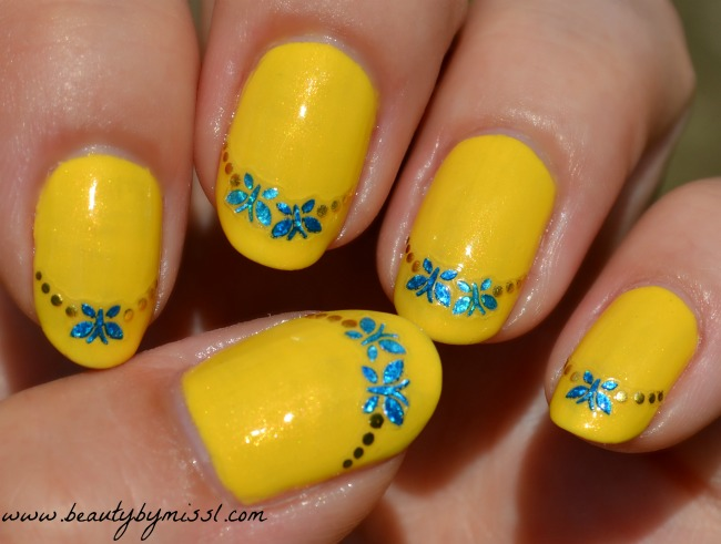 simple manicure with nail art stickers