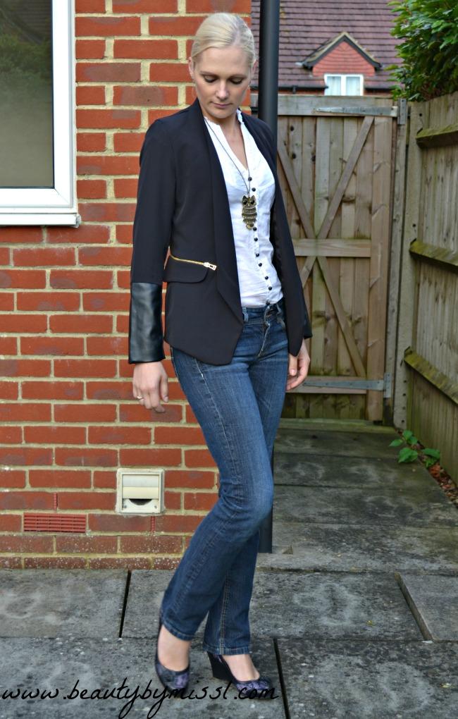 Black zipper detail blazer