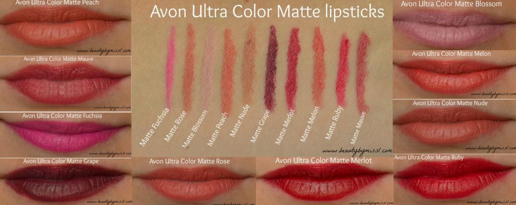 Avon Ultra Color Matte lipstick swatches