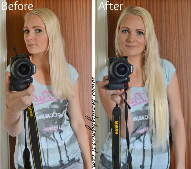 I&K Clip in hair extensions before & after