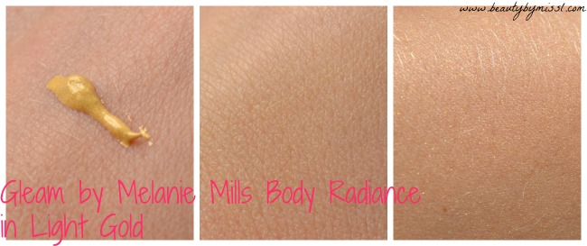 Gleam by Melanie Mills Body Radiance in Light Gold swatches