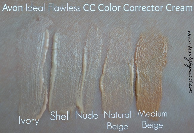 Avon Ideal Flawless CC Color Corrector Cream swatches