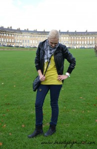Fall outfit: leather jacket, jeans, chartreuse jumper