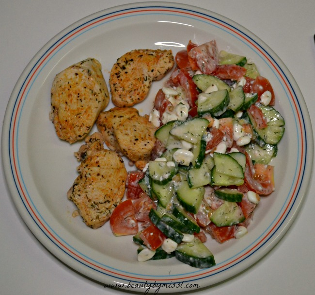 Chicken with cottage cheese salad