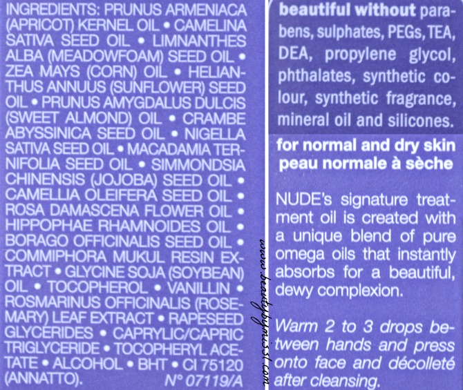 Nude ProGenius Omega Treatment Oil ingredients
