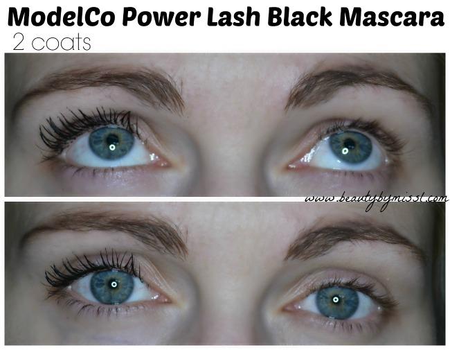2 coats of ModelCo Power Lash mascara
