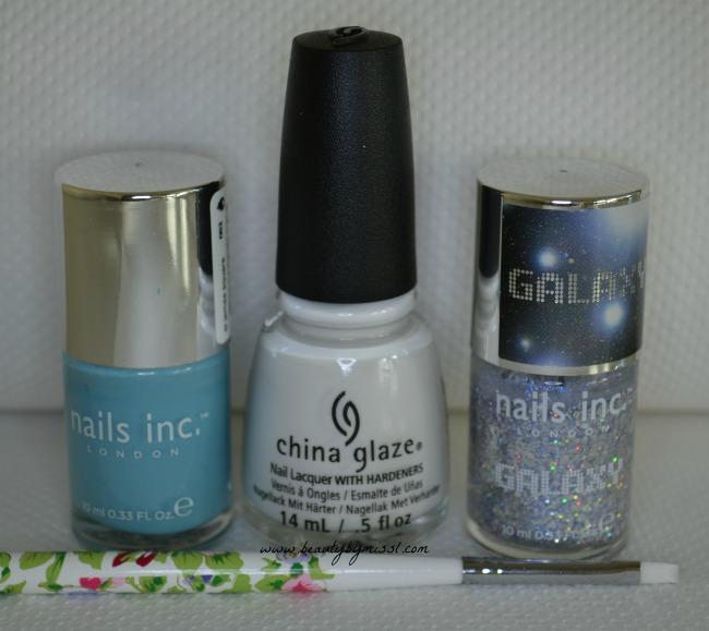 nail polishes used for snowflake nail art