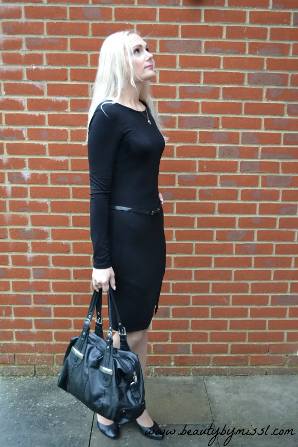 black outfit with black ASOS bodycon dress