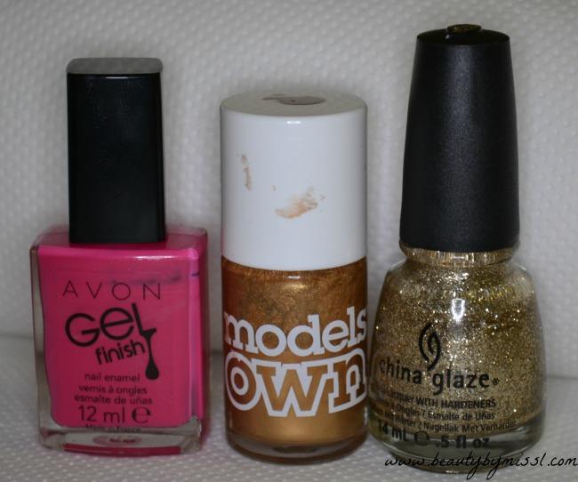 pink gold sponging nail art