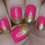 pink gold sponging nail art