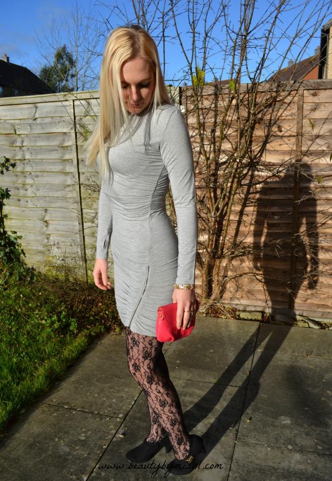 ootd: Grey bodycon dress