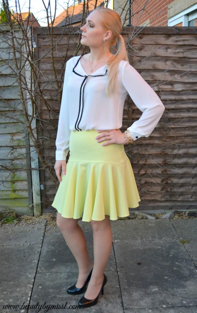 white blouse yellow skirt