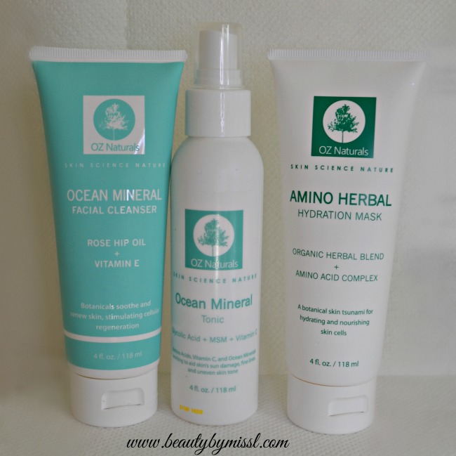 OZ Naturals cleanser, tonic & hydration mask review