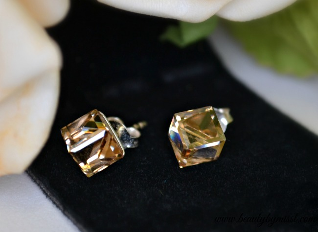 Topaz silver champagne crystal stud earrings from Hazel and Kent