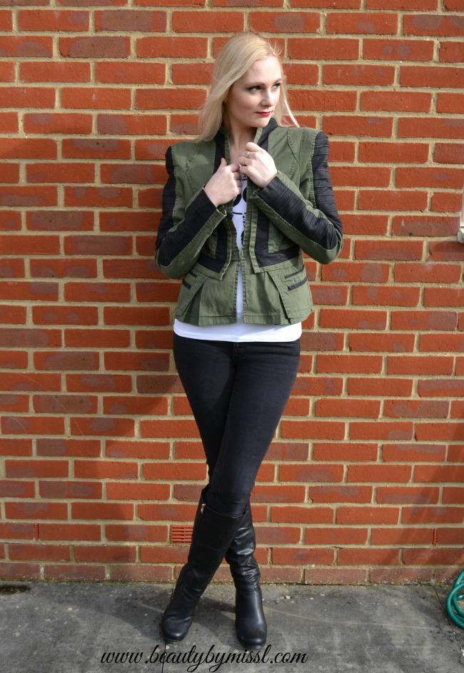 Lookbook Store Denim PU Leather Contrast Blazer