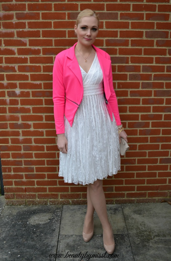 White and pink party outfit