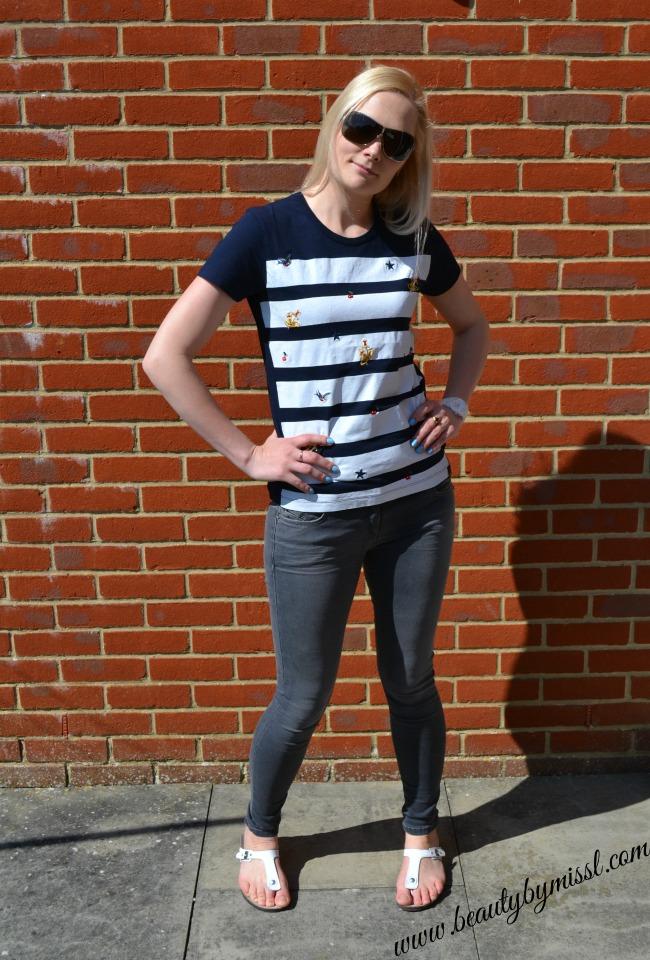 Vivienne Westwood Anglomania Blue Stripe Orb Logo Applique Bottle T-Shirt and Patrizia Pepe skinny jeans