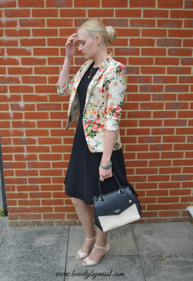 Black dress & floral blazer