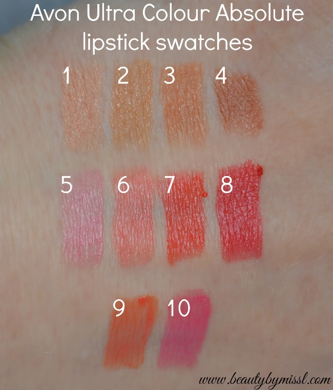 Avon Ultra Colour Absolute lipstick swatches