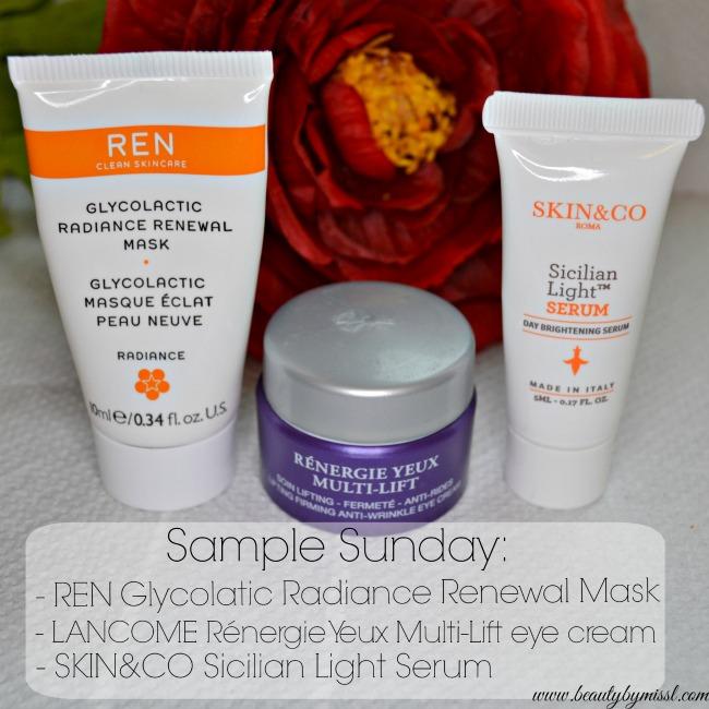 REN Glycoclatic Radiance Renewal Mask, Lancome Rénergie Yeux Multi-Lift lifting firming anti-wrinkle eye cream and Skin&Co Sicilian Light Serum