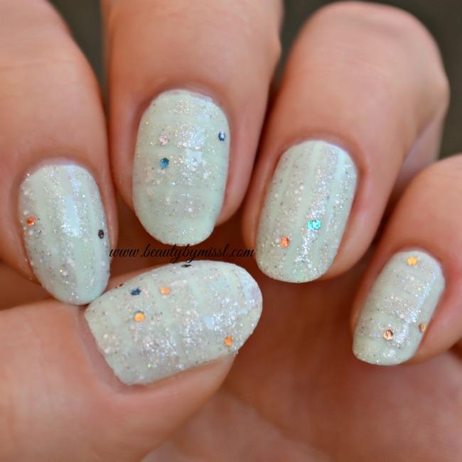 striped glitter nails