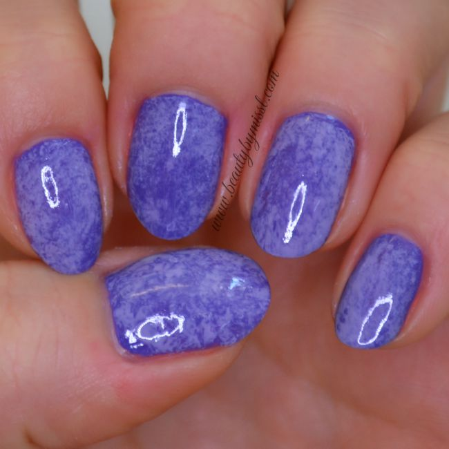 Purple cling wrap manicure