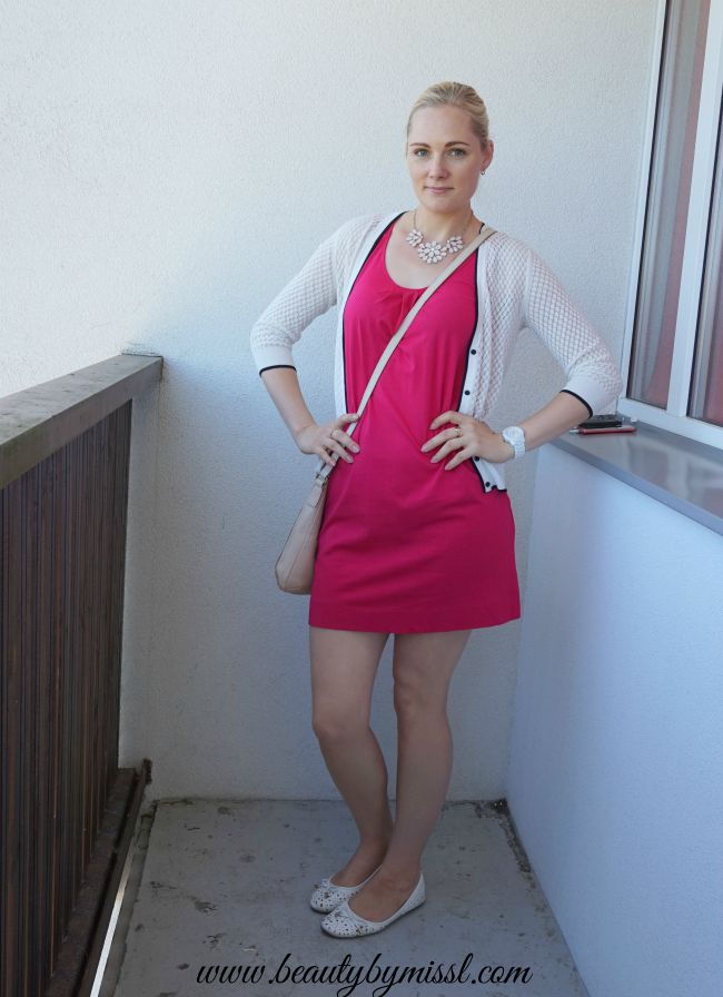 simple pink and white outfit