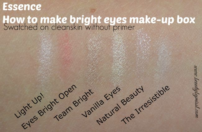 Essence How To Make Bright Eyes Make-Up Box eye shadows swatched on clean skin, without primer | www.beautybymissl.com via @beautybymissl
