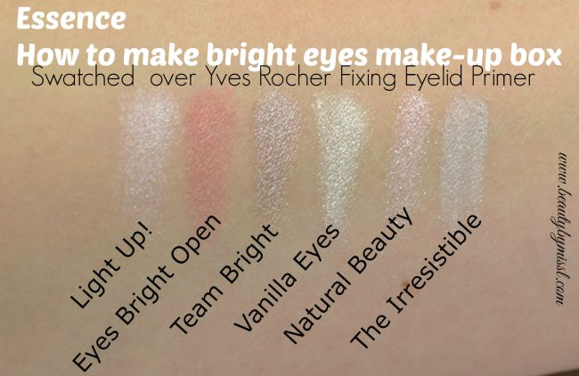 Essence How To Make Bright Eyes Make-Up Box eye shadows swatched Yves Rocher Fixing Eyelid Primer | www.beautybymissl.com via @beautybymissl