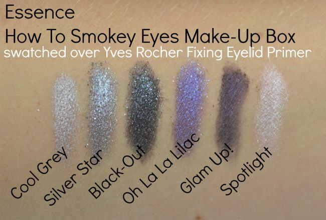 Essence How To Make Smokey Eyes makeup box swatchesd over Yves Rocher Fixing Eyelid Primer | www.beautybymissl.com