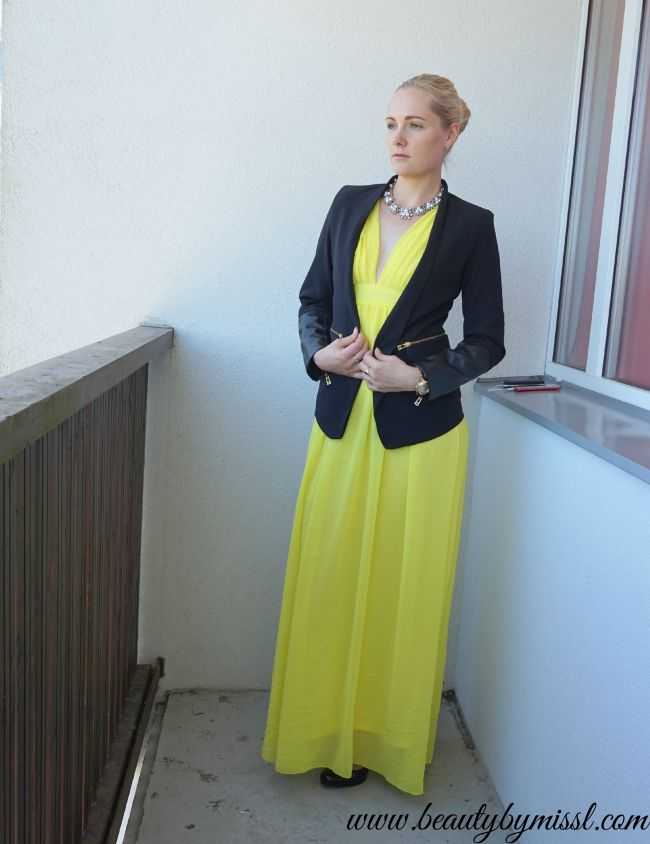 yellow maxi dress and black blazer with faux leather details   www.beautybymissl.com