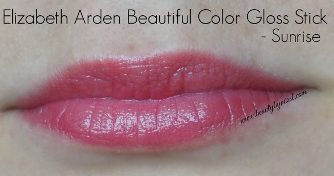 Elizabeth Arden Beautiful Color Gloss Stick in shades Sunrise swatch | www.beautybymissl.com