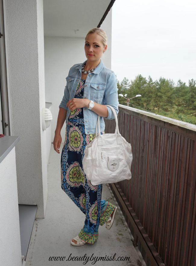 strapless SheIn jumpsuit, denim jacket, white wedges | www.beautybymissl.com