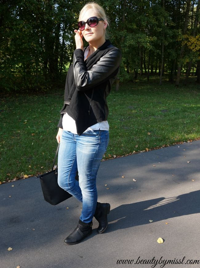 casual fall outfit featuring Blank DenimVegan Leather & Ponte Jacket from Shopbop