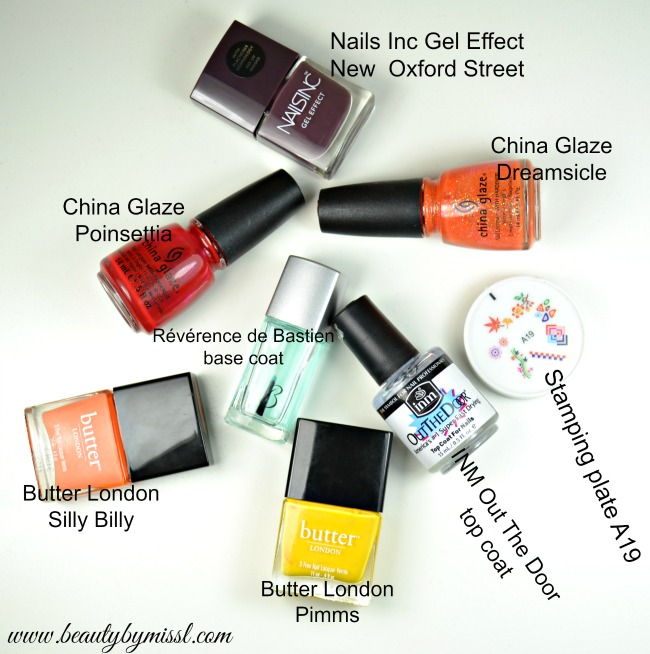 nail polishes and stamping plate used for my fall manicure