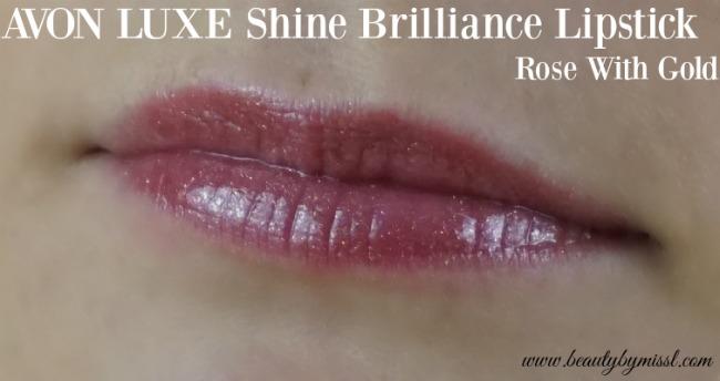 Avon Luxe Shine Brilliance Lipstick Rose With Gold