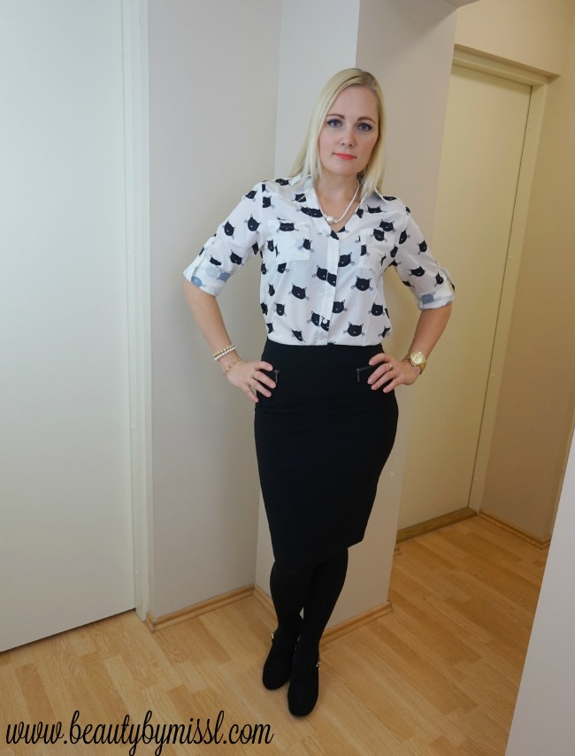 Black and white office look aka crazy cat lady