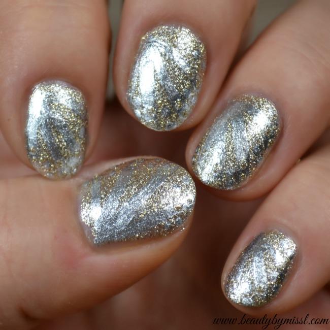 silver and gold nail art