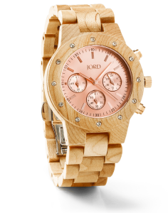 Jord Sidney Series Maple & Rose Gold Watch