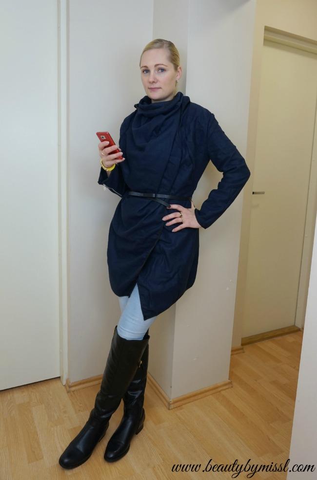 Asymmetric Coat, over-knee boots