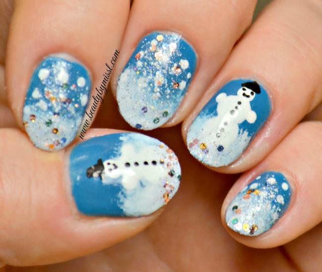 Snow Day nail art