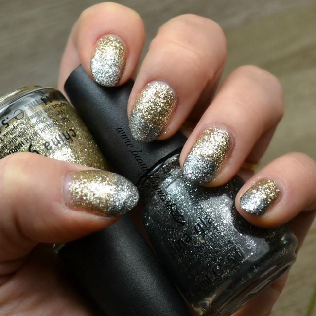 silver & gold glitter nails