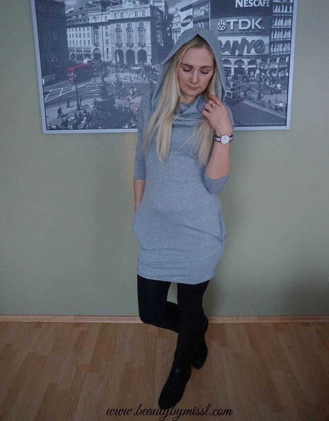 Shein Grey Cowl Neck Long Sleeve Slim Dress